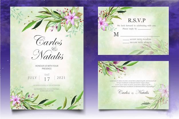 美しいスプラッシュと花の水彩結婚式カードテンプレート