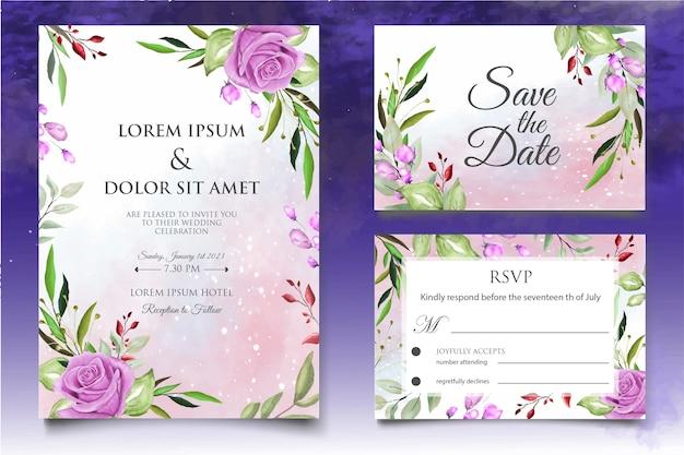 아름 다운 스플래시와 꽃 수채화 웨딩 카드 서식 파일