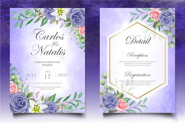 美しいスプラッシュと花の水彩ウェディングカードテンプレート