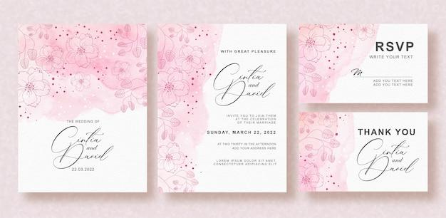 美しいスプラッシュピンクの花の結婚式の招待状セット