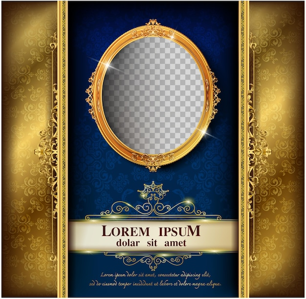 Beautiful splendor of oval frame on pattern background