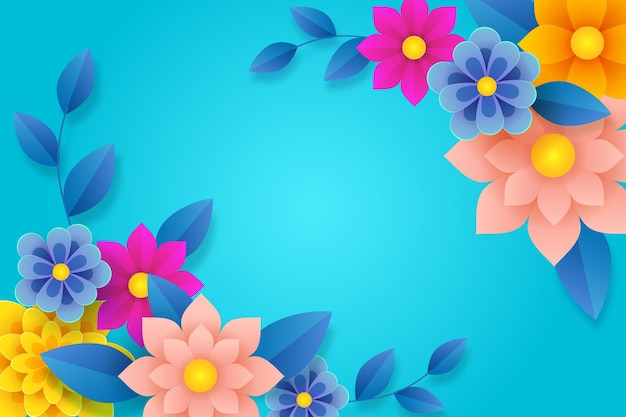 Beautiful spring background in paper style