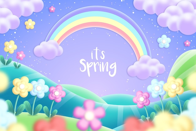 Beautiful spring background with rainbow