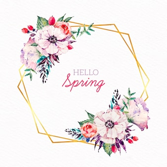 Beautiful spring floral frame in watercolor