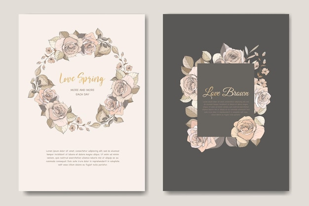 Набор красивых весенних цветочных приглашений