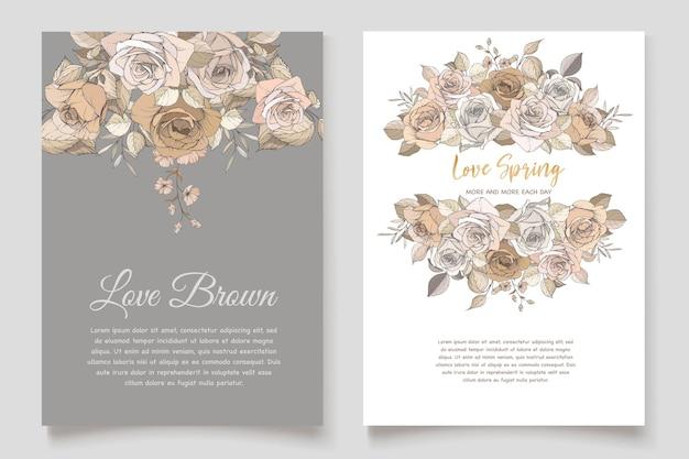 Beautiful spring floral invitation card set