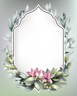 Красивый весенний цветочный фон шаблон с копией пространства и рамкой