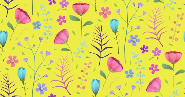 Beautiful spring flower garden blossoms background. seamless pattern backdrop design in watercolor style.