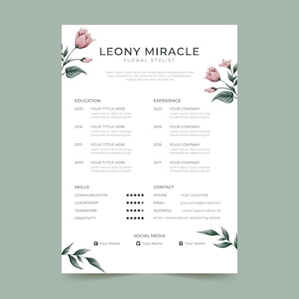 Beautiful spring flowers cv template