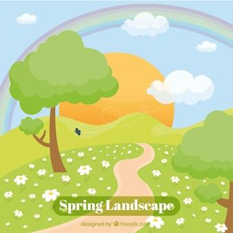 Прекрасный весенний пейзаж фон с солнцем и путь