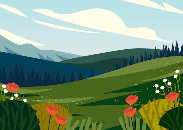 美しい春の風景の背景