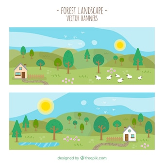 Beautiful spring landscapes banners