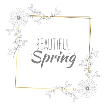 Beautiful spring lettering on golden frame