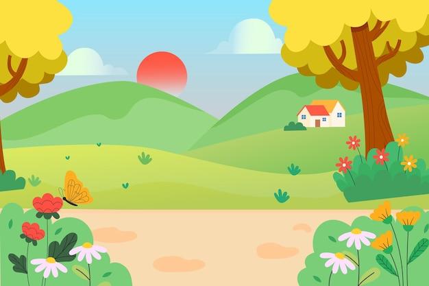 美しい春の自然の風景イラスト