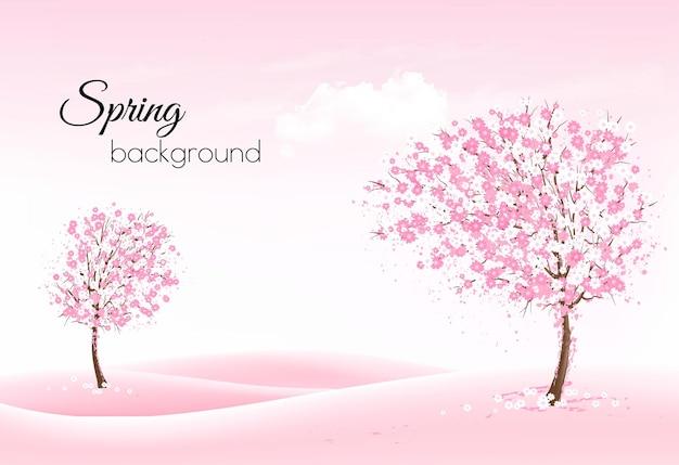꽃이 만발한 나무와 조 경사와 아름 다운 봄 자연 배경.