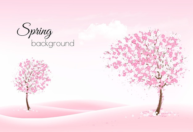 Beautiful spring nature background with a blossoming trees and landscaper.