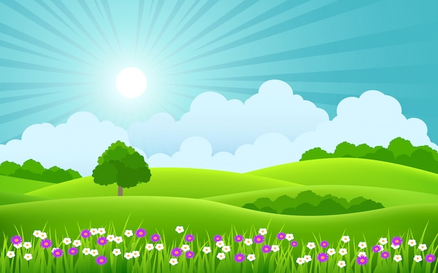 Beautiful spring scenery with colorful flowers and sunbeam