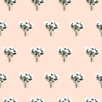 フラットスタイルの白い花の花束と美しい春のシームレスなパターン。