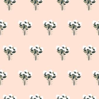 평평한 스타일의 흰색 꽃 부케와 함께 아름다운 봄의 매끄러운 패턴입니다.