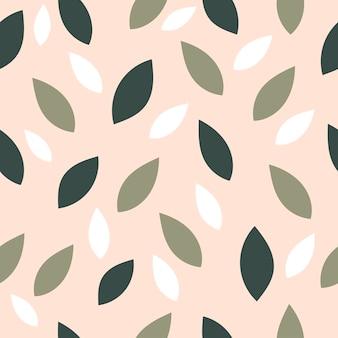 평평한 스타일의 단순한 잎으로 된 아름다운 봄의 매끄러운 패턴입니다.