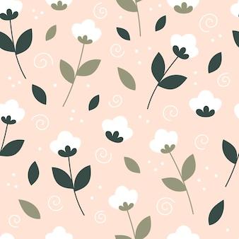 평평한 스타일의 흰색 꽃이 있는 아름다운 봄의 매끄러운 패턴입니다.