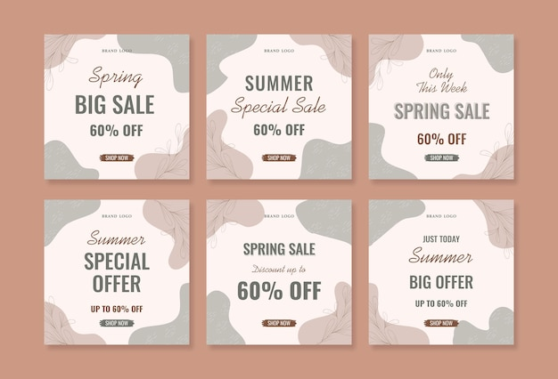 Beautiful spring and summer promotional instagram square post template