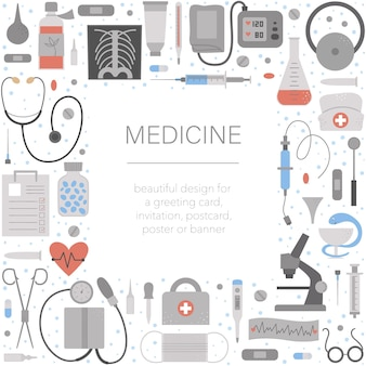 医療機器やツールを備えた美しい正方形のフレーム