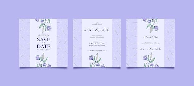 나뭇잎 패턴으로 결혼식을위한 아름다운 광장 게시물