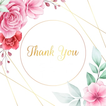 Beautiful square thank you card with flowers border