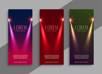 Beautiful stage lights banner with text space