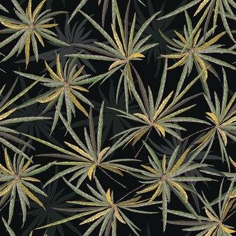 Beautiful star foliage seamless pattern