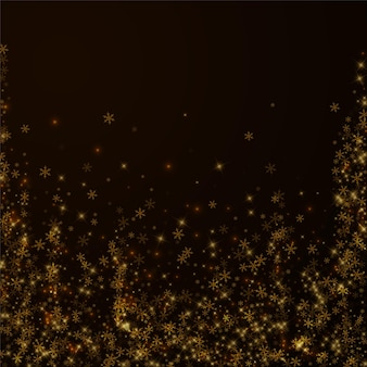 Beautiful starry snow christmas overlay. christmas lights, bokeh, snow flakes, stars on night background. luxury actual sparkling overlay template. authentic vector illustration.