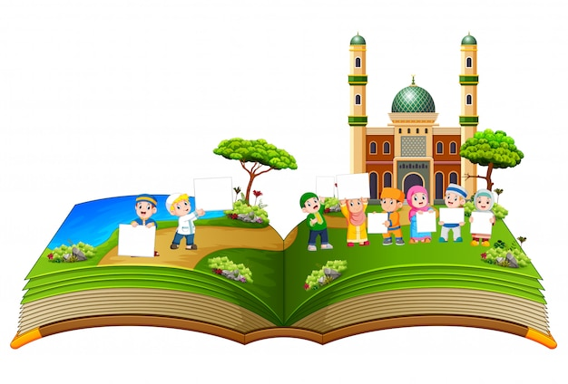 The beautiful story book with the children holding the blank board