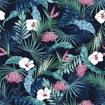 Beautiful stylish dark tropical flower seamless pattern