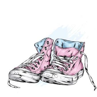 Beautiful stylish sneakers illustration