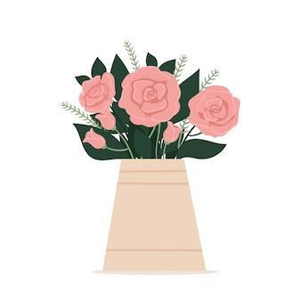 花の花束と美しいスタイリッシュな花瓶。グリーティングカード。母の日、国際女性の日、誕生日。白い背景で隔離の春フラットベクトルイラスト。
