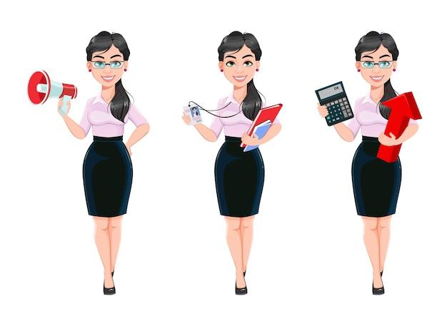 세 포즈의 아름 다운 성공적인 비즈니스 여자 만화 캐릭터 세트