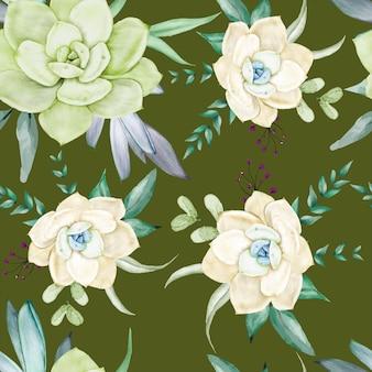 Beautiful succulent flower watercolor seamless pattern