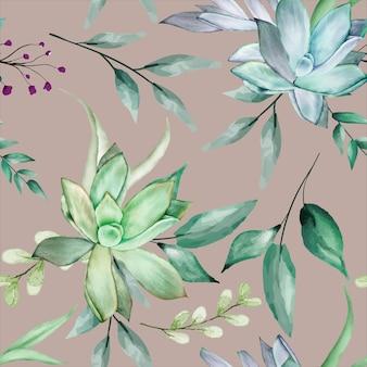 아름다운 즙이 많은 꽃 수채화 원활한 패턴