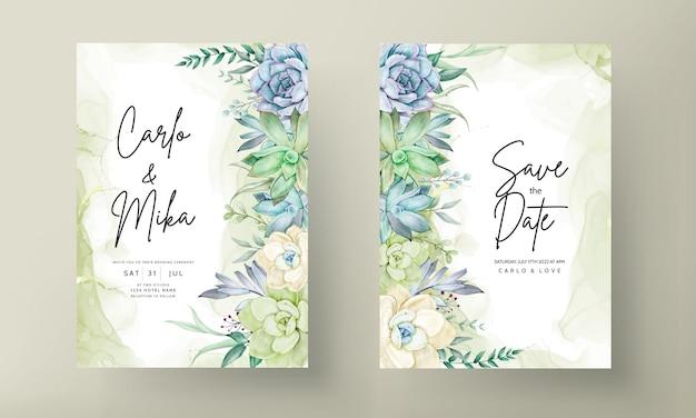 Beautiful succulent flower watercolor wedding invitation card set