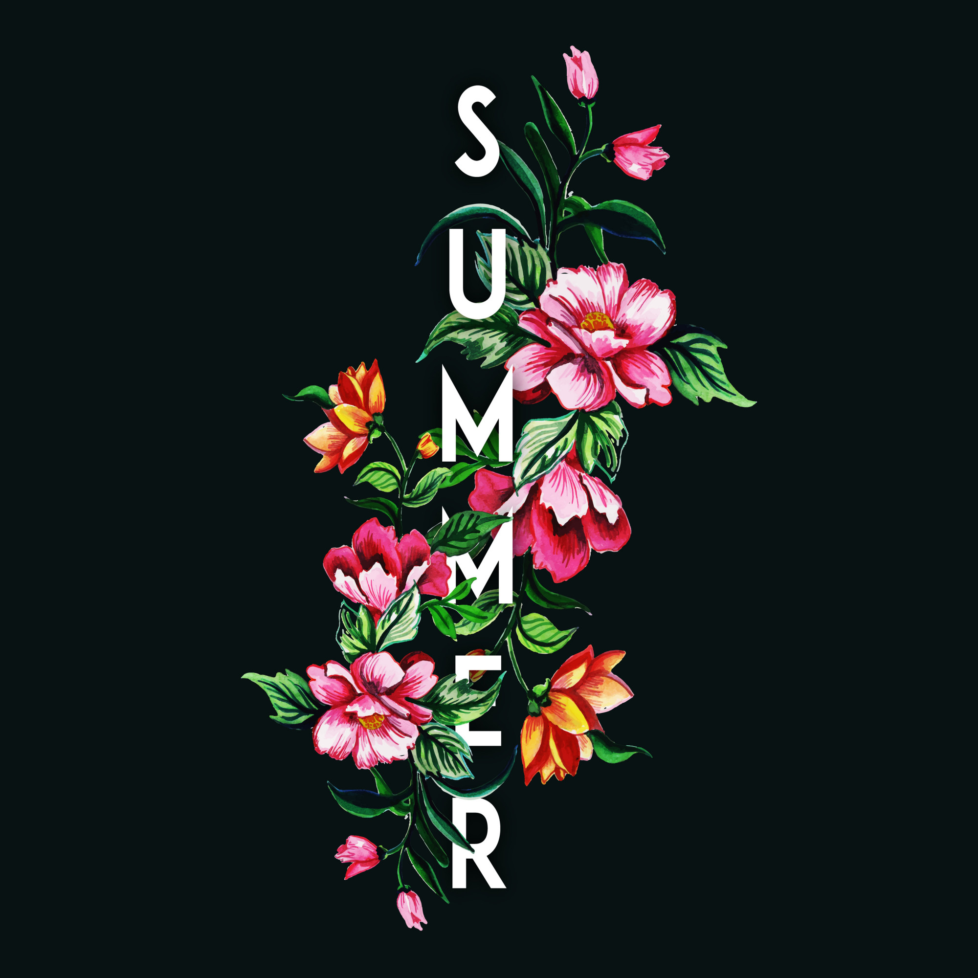 Beautiful Summer Background with Watercolor Floral