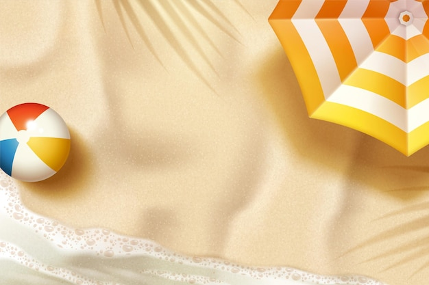 3d 그림에서 파라솔과 비치 볼 아름 다운 여름 해변 배경