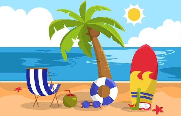 美しい夏のビーチ海の自然エキゾチックな休暇のイラスト