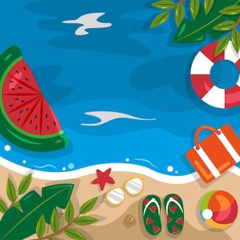 아름 다운 여름 해변 바다 자연 휴가 상위 뷰 배경 일러스트 레이션