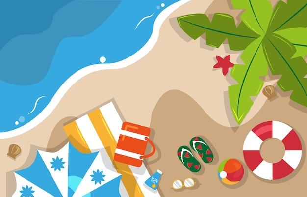 美しい夏のビーチ海自然休暇上面図背景イラスト