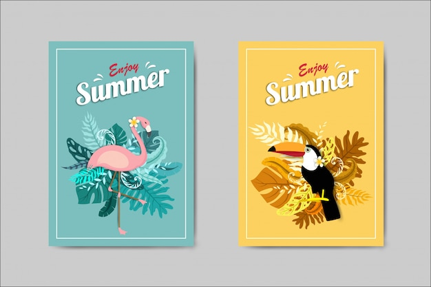 Beautiful summer card with flamingo and toucan