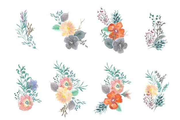 아름 다운 여름 꽃 꽃다발 수채화 컬렉션