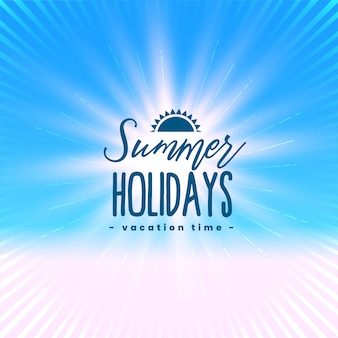 Beautiful summer holidays poster with light rays