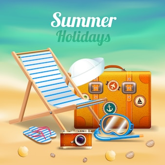 Composizione realistica in belle vacanze estive