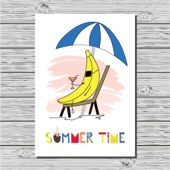 Beautiful summer illustration with banana and hand written text.